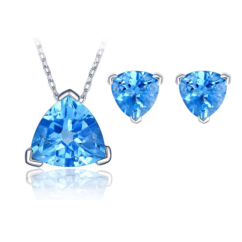 Fashion Rhodium Triangle Sapphire Pendant Necklace Blue Stone Earring Women Accessories - U King Jewelry Factory Outlet store