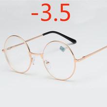 Круглые очки для женщин и мужчин, ретро очки для близорукости, оптические металлические оправы, прозрачные линзы, черные, серебристые, Золот...(Китай)