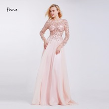 Formal Evening Dresses 2017 Boat Neck Long Sleeve Crystal Beading By Hand See-through Prom Dresses Robe de Soiree(China (Mainland))