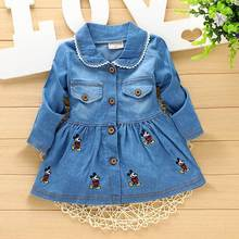 2016new Autumn Spring Casual baby  Kids infant Children girls Bow Duckling embroidery cardigan Single-breasted Dress Y1500(China (Mainland))