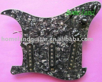 Loaded Prewired 3S SSS Pickguard Guard Plate Black Pearl for Strat ST Stratcaster Electric Guitar High Quality 3ply