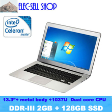 A133 Aluminum alloy Laptop 13.3inch Dual core, RAM 2GB SSD 128GB, Intel D2500, ultral slim notebook ultrabook