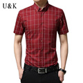 UNIVOS KUNI Men Shirt Brand Clothing 2016 Fashion Summer Short Sleeve Plaid Shirts Slim Fit Camisa