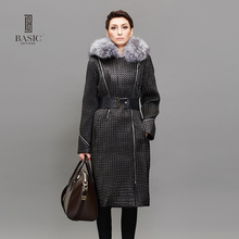 BASIC Womens Winter Jackets Coats Black Long Slim Parka 3M Thinsulate Warm Clothing Large Fur Collar XXL-6XL 14W-14 - basic editions e- Store store