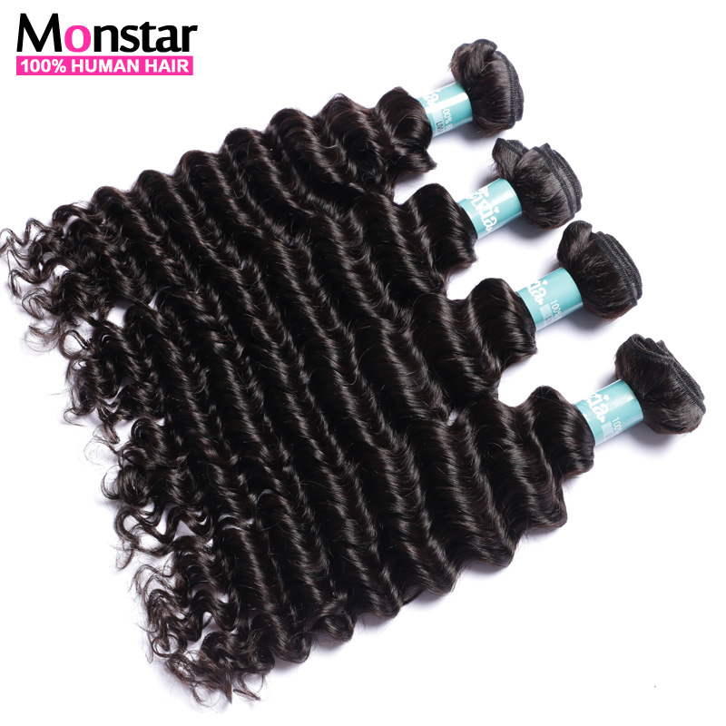 Deep Wave Brazilian Hair 4 Bundles 7A Unprocessed Remy Human Hair Weave Natural Color Hair Monstar Virgin Hair Products Style(China (Mainland))