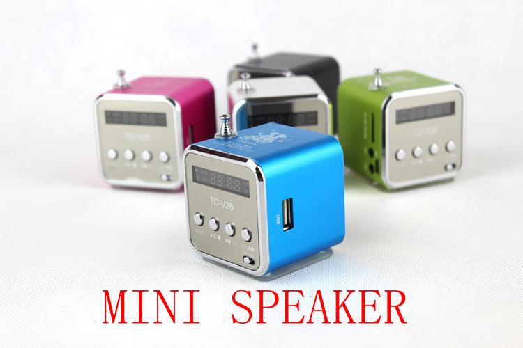 NEW TD-V26 Portable Mini Digital Speaker for MP3 MP4 PC,Support Radio, USB, TF/SD Card,Wholesale*200pcs* Free DHL Shipping,(China (Mainland))