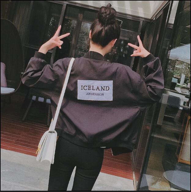 2016 Fashion Women Slim Patch Designs Letter Print Bomber Jacket Plus Size Outwear Baseball Uniform Jackets FW020(China (Mainland))