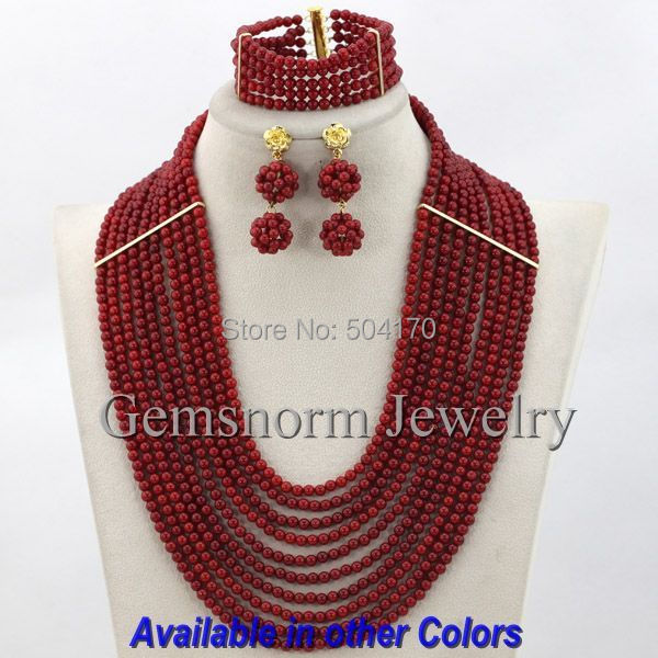 Handmade Coral Indian Bridal Jewelry Set 10 Layers African Red Coral Beads Jewelry Set Free Shipping CNR171<br>
