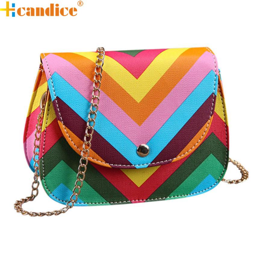 Best Gift Hcandice New Fashion Leather Shoulder Messenger Fashion Messenger Bag Chain Rainbow Stripes bea6610(China (Mainland))