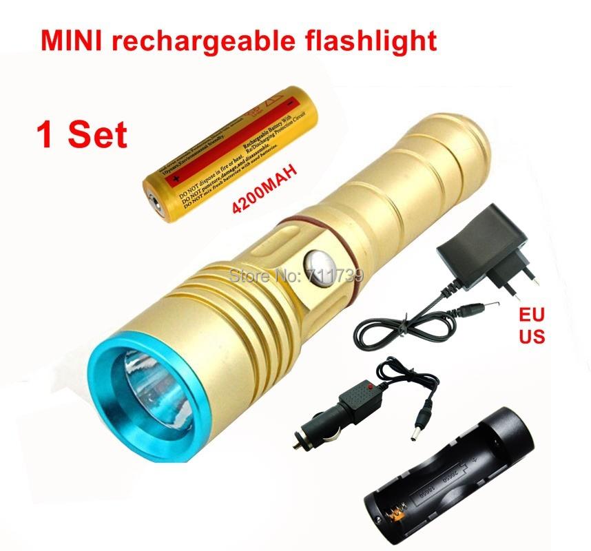 1Set CREE XML 3Mode LED flashlight charge long-range bright flashlight 1*4200MAH 18650 battery+charger+car charger - F21