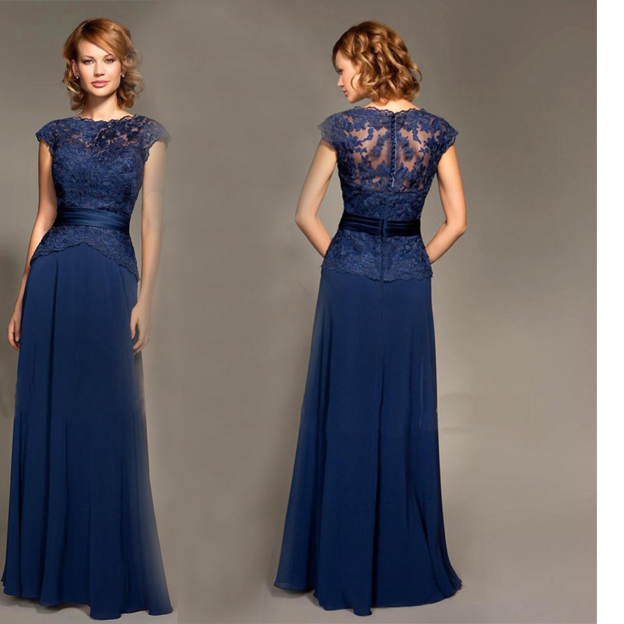 A line floor length chiffon cap sleeves lace sash navy for Navy blue dresses for wedding