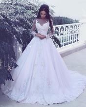 Buy Vestidos De Novia Long Sleeves Wedding Dresses Ball Gown Lace Sheer Neck Long Wedding Gowns Women Robe De Mariage for $199.00 in AliExpress store