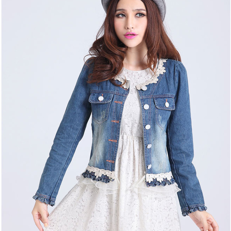 Spring 2016 Short Jean Jacket Lace Denim Coat Ruffles Veste Femme ...
