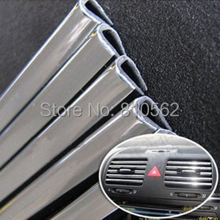 4M U Style DIY Car Interior Air Conditioner Outlet Vent Grille Chrome Decoration Strip Silvery free shipping drop shipping(China (Mainland))