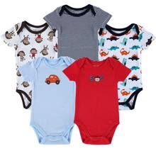5pcs/lot Free Shipping Luvable Friends Bold Colors Hanging Baby Bodysuit,Baby Romper, 5 Pack