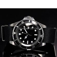 parnis luminous vintage SEA automatic movement fabric strap mens watch P10(China (Mainland))