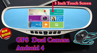 """New FHD 1080P 5"""" Touch Anroid Car DVR GPS Navigation Wifi FM Parking Rearview Mirror recorder Dash cam Dual camera + free  Maps"""