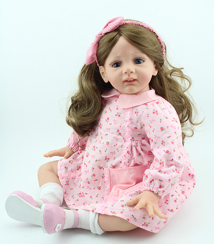24 inch Reborn Baby Doll Lifelike Girls Vinyl Baby Toys Cute Soft Reborn Bebe Toddler Collection Dolls By NPK DOLL(China (Mainland))