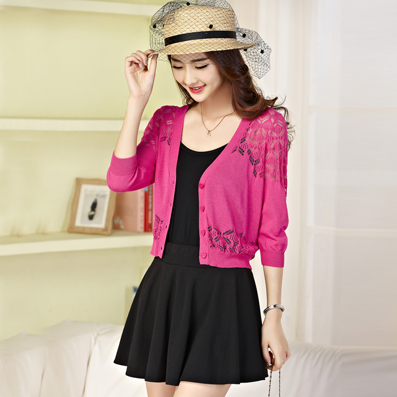 Summer new shawl jacket sun shirt hollow short cardigan knit wool Fashion sexy clothes Discount promotion sell like hot cakes(China (Mainland))