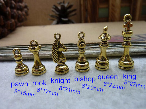 5 Set (30 pcs ) of Chess Charms in Antique Gold Finished - Pawn,Rook,Knight,Bishop,Queen,King - Free Shipping(China (Mainland))