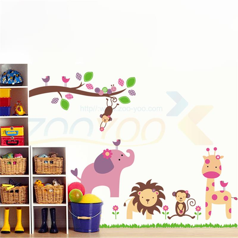 giraffe lion elephant monkey animals wall stickers for kids bedroom decorations 869 zoo adesivo de paredes home decals arts 4.0(China (Mainland))