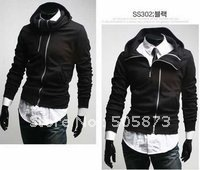 Men's jacket  new autumn winter models Shirt metal double zipper Slim Korean sweater Coat N2