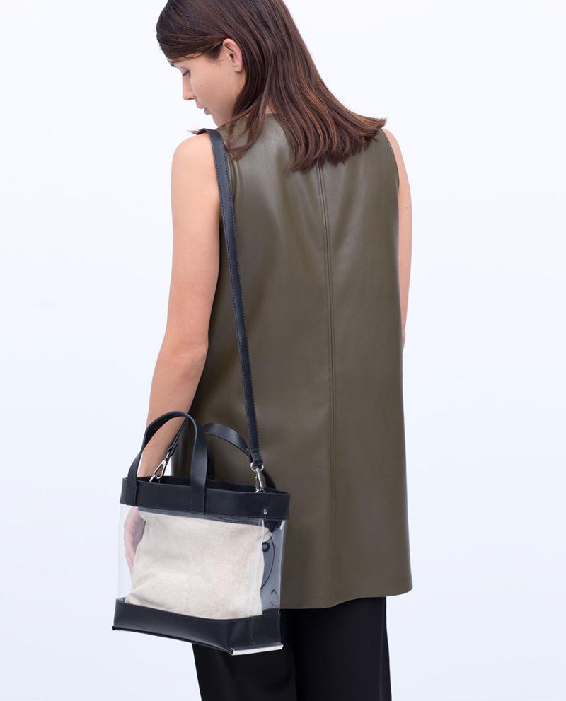 ZA 2015 transparent Clear VINYL SHOPPER BAG Women plastic handbag bag Double handle removable cross-body strap messenger bags(China (Mainland))