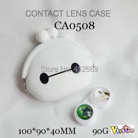 FREE SHIPPING CA0508 new big hero cartoon lovely baymax wallet style DIY contact lens case10PCS/LOT(China (Mainland))