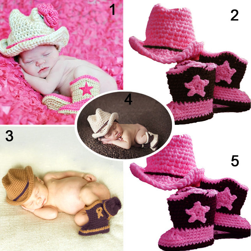 New Design Cute Baby Cowboy Hat Crochet Infant Toddler Photo Props Knitted Caps Children Photograph Beanies Cap(China (Mainland))