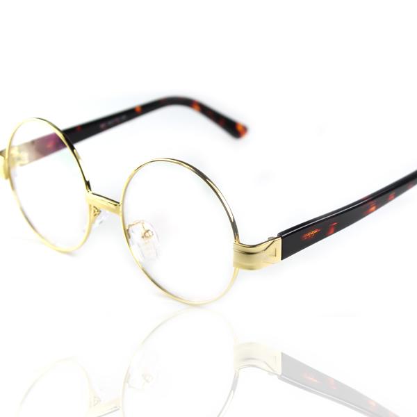 841 round glasses vintage glasses gold circle metal frame amber mirror plate