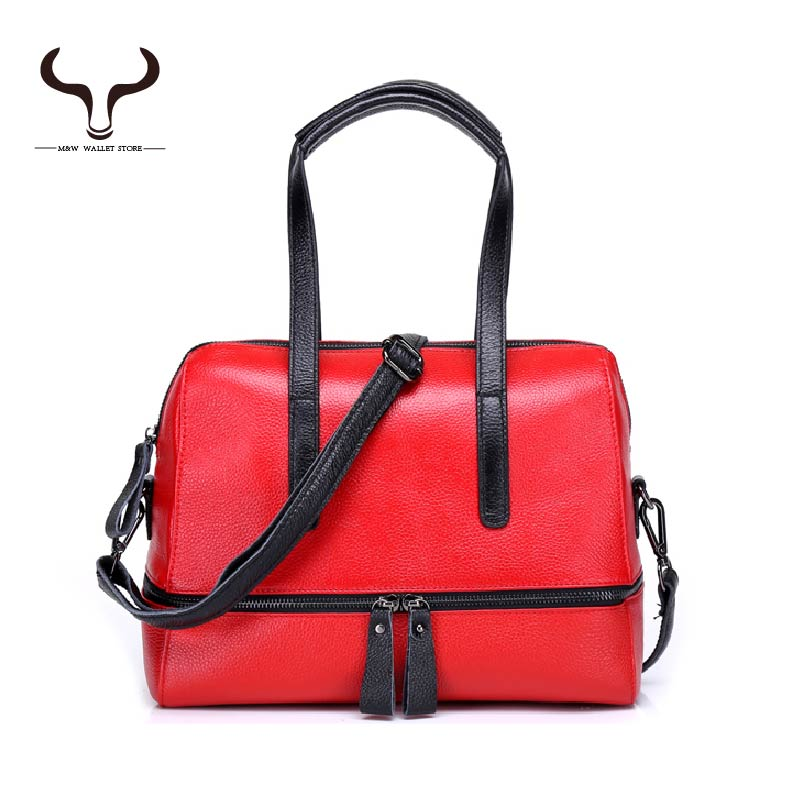 Ladys Red Top Handle Bags Genuine Leather Bags for Women European and American Style Solid Small Crossbody Bags XAY/H716(China (Mainland))
