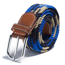 Men Women Canvas Plain Webbing Metal Buckle Woven Stretch Waist Belt Colors