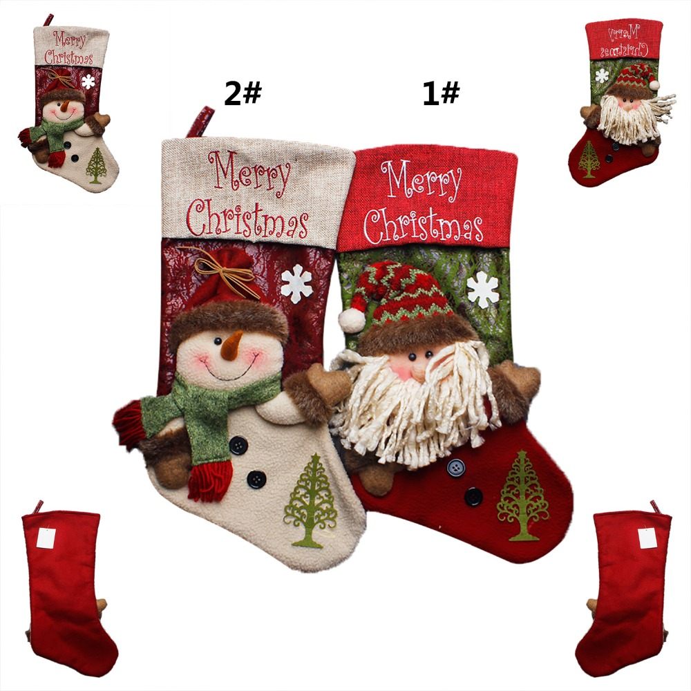 1 PC 2Styles Big Christmas Decorations Candy Sock Santa Snowman Embroidered Sock for Christmas Gifts Socks 42*22*20 #LN