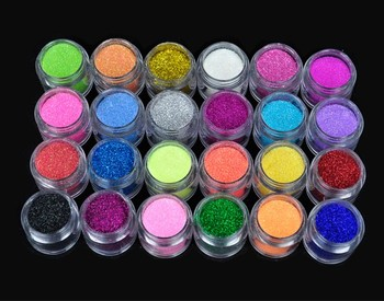 New 24PCS/set  Metal Shiny Dust Nail  Glitter Nail Art Powder Tool Kit Acrylic UV Make up 5838