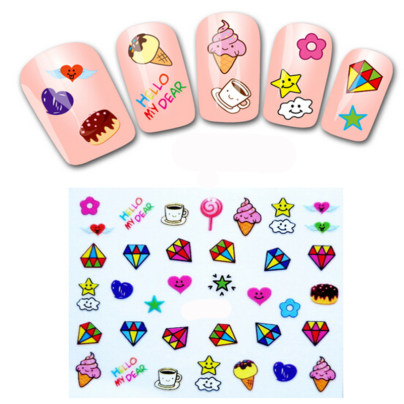 1PCS Nail Art Water Transfers Stickers for Nails Decals Stickers Manicure Water Decals Cake Fruit Food Ice Cream Nail Stickers(China (Mainland))