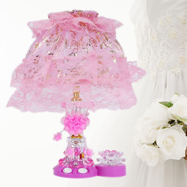 For dec oration table lamp bedside table lamp red pink table lamp lace festive wedding gifts Large()