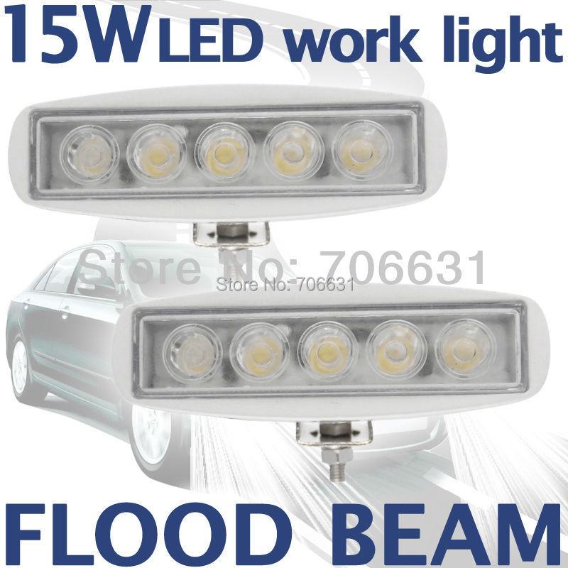 2pcs 15W White LED Off road Slim Work Light Flood beam Lamp 12V/24V for car Truck 4WD 4X4(China (Mainland))