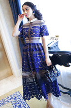 European high-end high-quality clothing, beautiful woman full of sheer embroidered lace stitching ladies formal wear long dress(China (Mainland))
