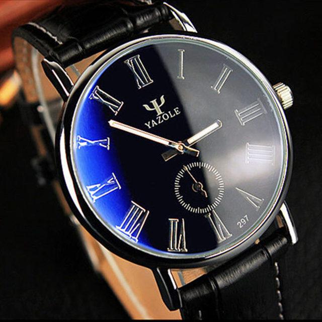 Yazole мужские часы 30 м водонепроницаемый фантом голубое зеркало мода свободного покроя стали чехол кожаный ремешок кварц спорт наручные часы Relogio