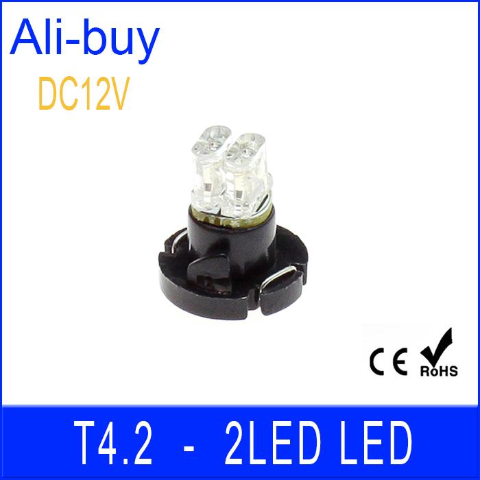 5pcs LED Car Bulb T4.2 2LED 0.5W 20lm Car LED Light DC 12V Blue Light Bulb For Car Dash Board Cluster Gauges Instrument Lamp Ann(China (Mainland))