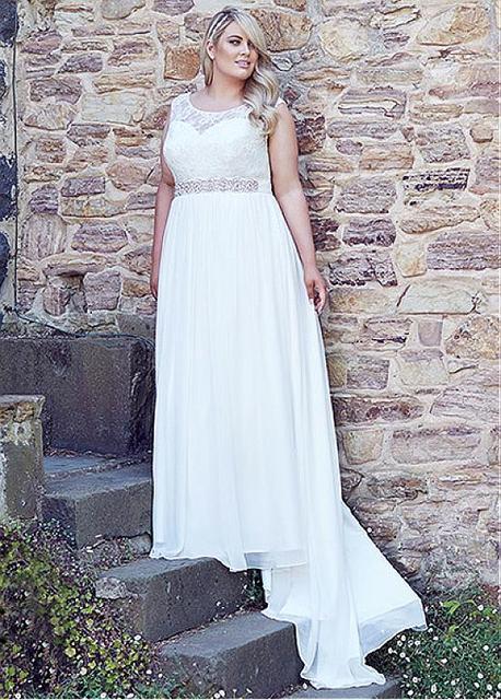 2016 новый горячая распродажа на заказ свадебные платья кружева шифон Большой размер ...