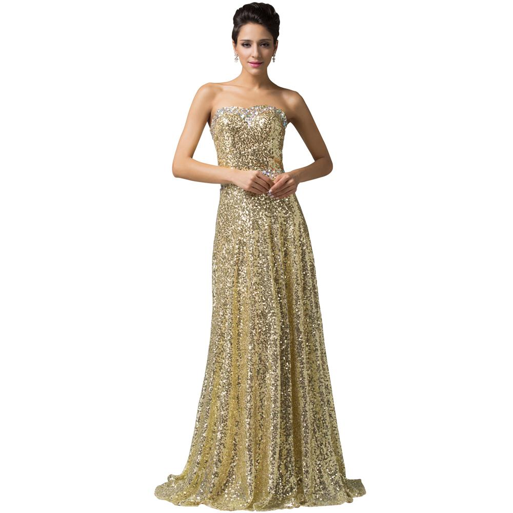 Grace Karin Gold Sequin Long Evening Dress 2016 Formal