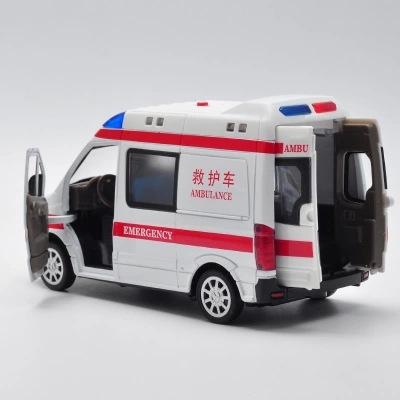 1:32 The ambulance car model acousto-optic version back to children's toy car models simulation kids toys brinquedo(China (Mainland))