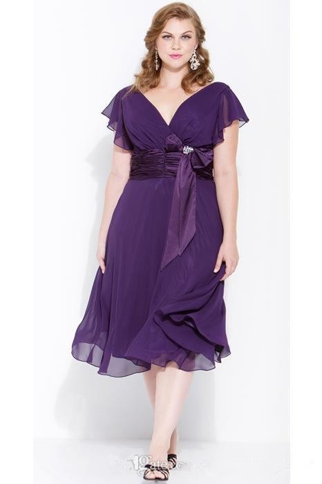 Plus size 2016 short mother of the bride dresses purple for Purple plus size dresses for weddings