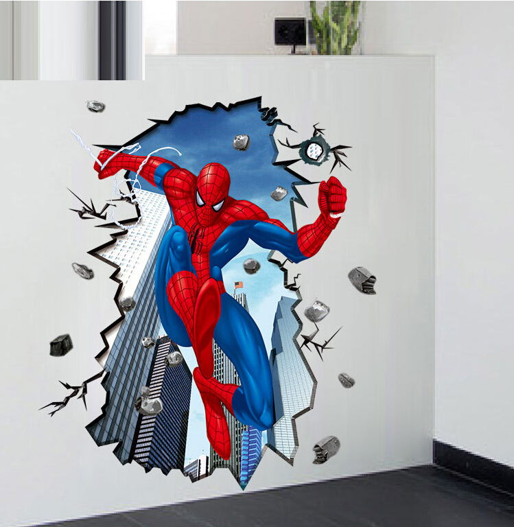 Http Www Aliexpress Com Item 3d Kid Room Decor Kindergarten Decal Baby Room Wall Sticker Decoration Spiderman Removable Waterproof 32370367713 Html