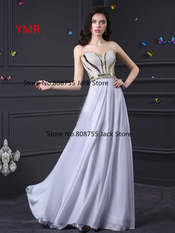 Real Photo Fast Delivery Chiffon Cheap Inexpensive Sequined Long Prom Dresses 2016 White In Stock Us Size 2-8 Available FJ702(China (Mainland))