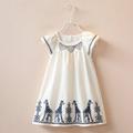 Summer 2016 Fashion Girls Dresses Children Kids Dress Animal Giraffe Embroidered Cotton Dress for Kids Girls