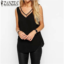 Newly Women 2015 Summer Tank Tops Sexy Mesh Patchwork Sexy V Neck Chiffon Shirts Black White Camisole Plus Size S-4XL Blusas(China (Mainland))