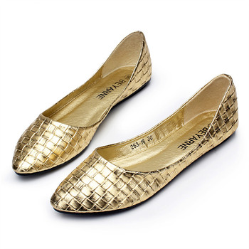 Hot Selling Women Pointed Toe Woven Pattern Fashion Flats Ladies Spring Summer Style Sexy Plaid Comfortable office Flat Shoes