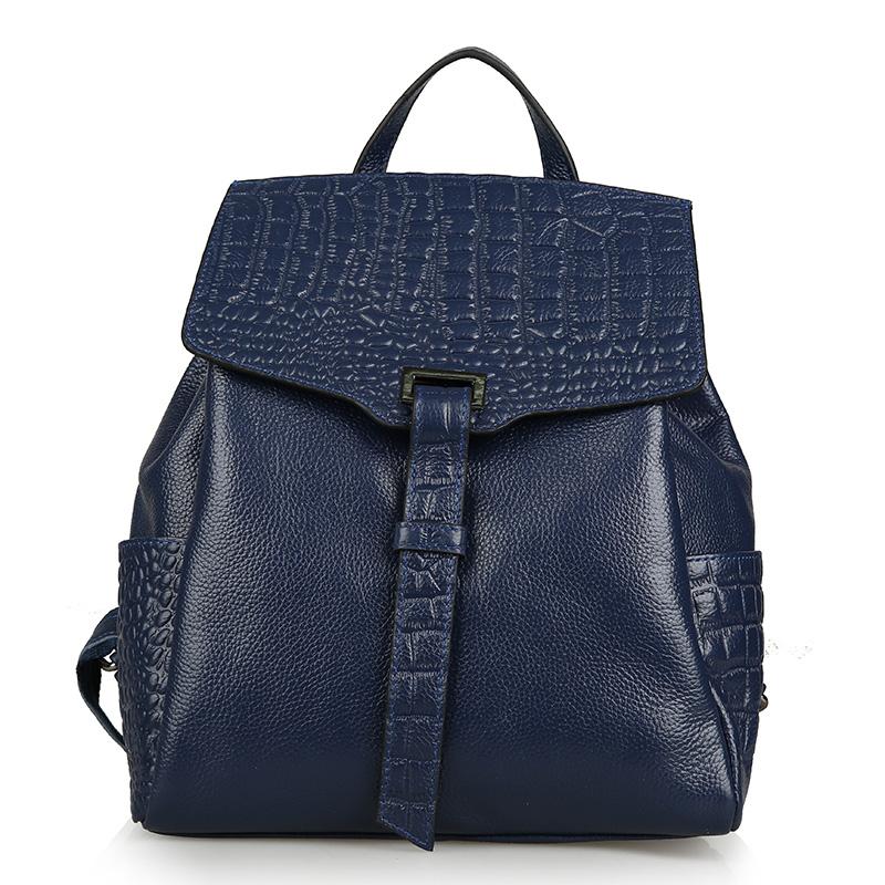 Фотография New female leather Backpack large capacity cowhide crocodile travel bag BB627